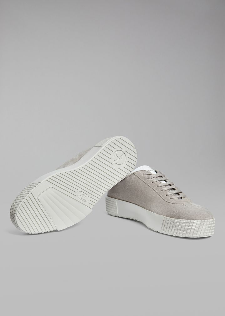 GIORGIO ARMANI Suede leather sneakers with logo heel detail Sneakers Man a