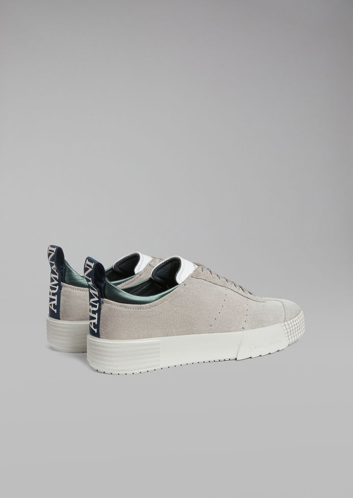 GIORGIO ARMANI Suede leather sneakers with logo heel detail Sneakers Man d