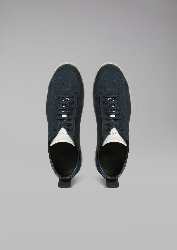 GIORGIO ARMANI Suede leather sneakers with logo heel detail Sneakers Man e