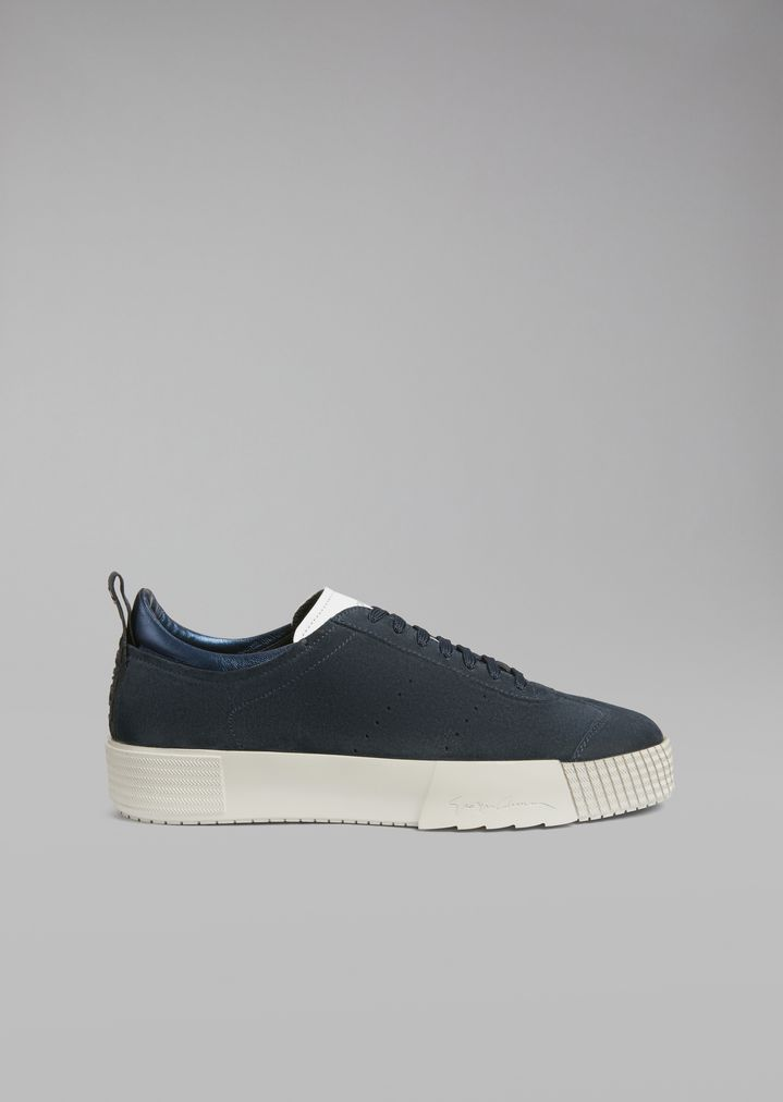 d16008325e9a6e Suede leather sneakers with logo heel detail