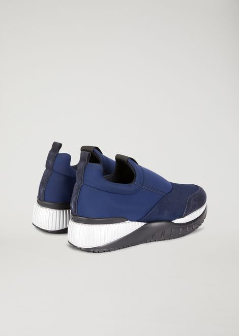 Scuba fabric slip-on with suede details