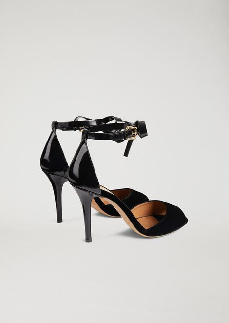 Velvet and brushed leather sandals with ankle bow
