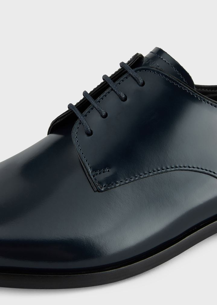 EMPORIO ARMANI Lace-up derby in abraded leather with a rubber sole Lace-ups Man a