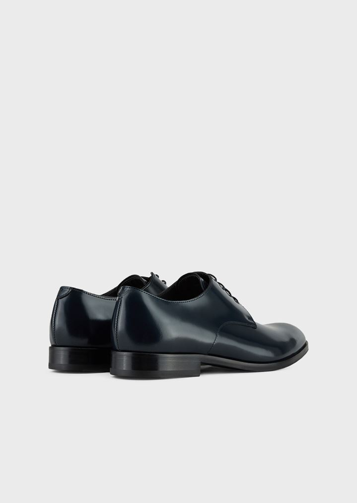 EMPORIO ARMANI Lace-up derby in abraded leather with a rubber sole Lace-ups Man e
