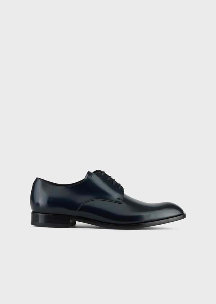 EMPORIO ARMANI Lace-up derby in abraded leather with a rubber sole Lace-ups Man f
