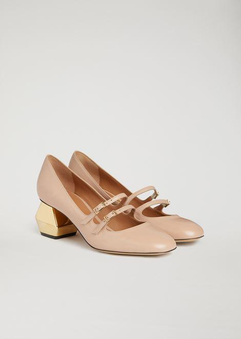 Nappa leather Mary Jane with chrome hexagonal heel