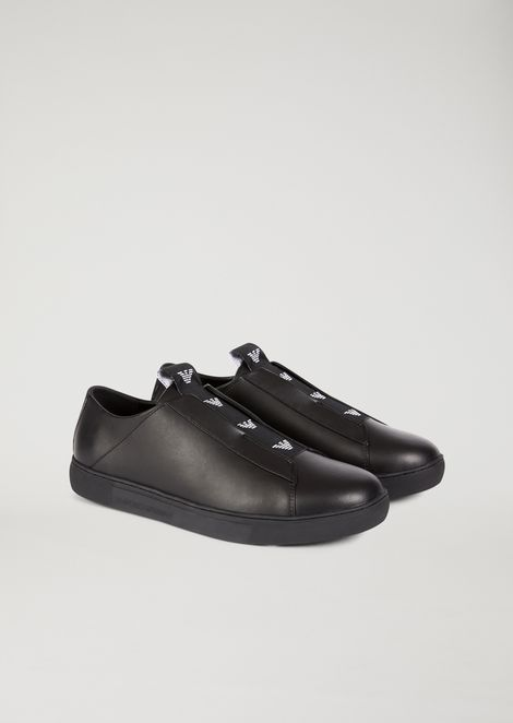 Nappa slip-on with elasticated logo strip