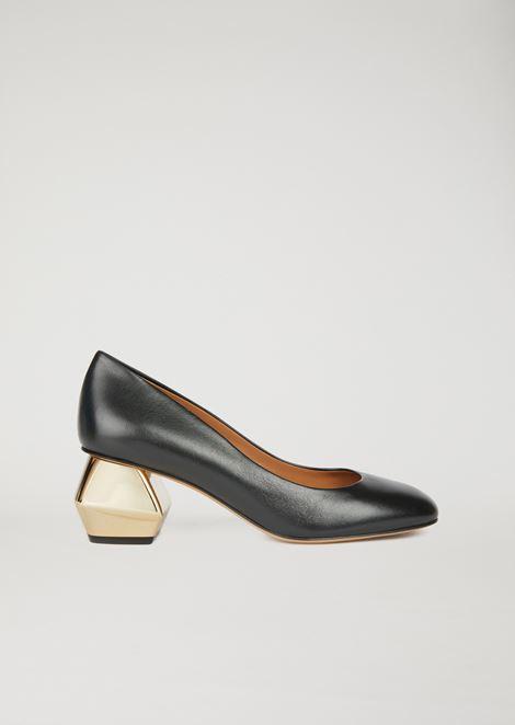 Туфли из наппы с шестигранным хромированным каблуком