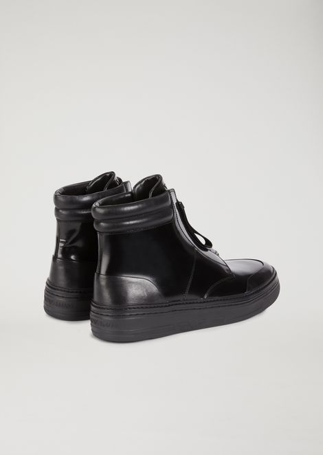 Ankle boot sneakers in abraded nappa with zip