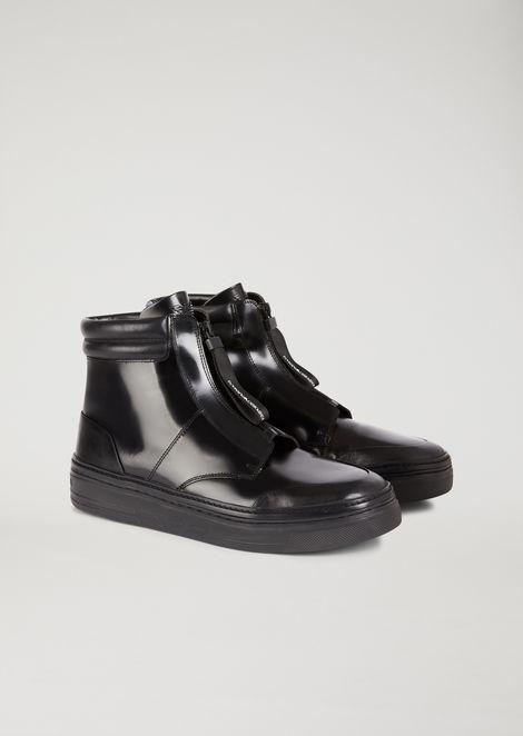 Sneakers a stivaletto in nappa abrasivata con zip