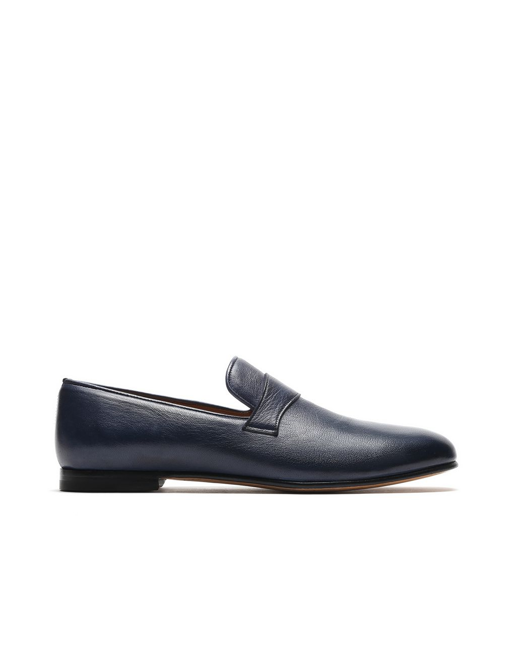 BRIONI Navy Blue Foot Glove Loafer Formal shoes Man f