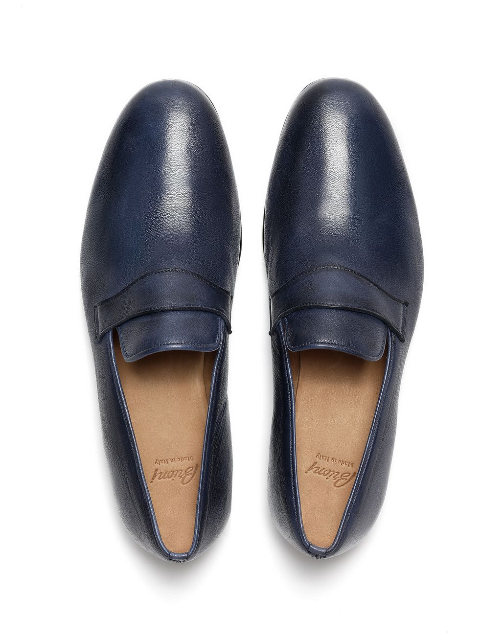 BRIONI Navy Blue Foot Glove Loafer Formal shoes Man r