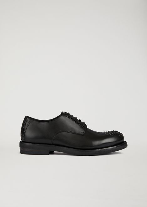 Leather Derby with tonal stud details
