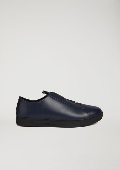Sneakers Slip-On In Nappa Con Logo A Contrasto