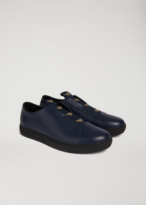 Slip-on sneakers in nappa leather with contrasting logo