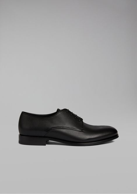 Calfskin leather Derby with textured effect