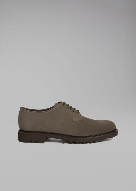 Zapatos derby de piel ante con suela dentada