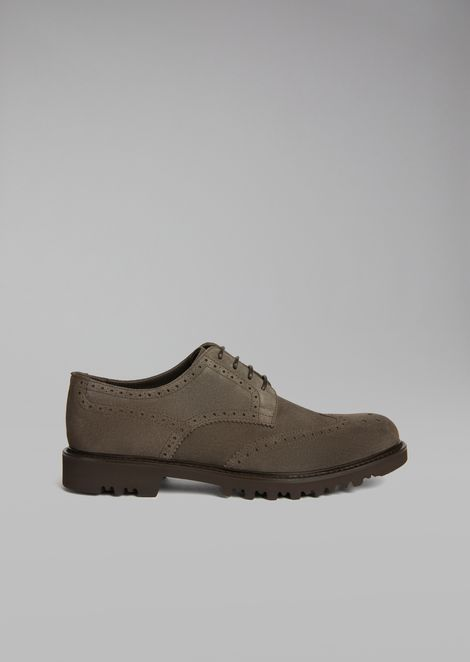 Suede leather Derby with perforated detailing