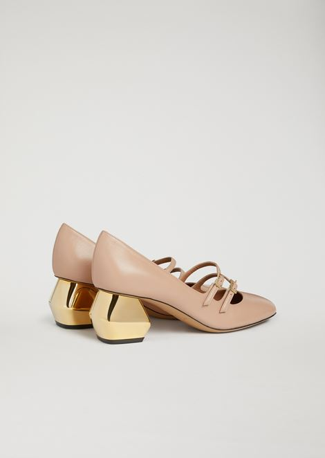 Nappa leather Mary Jane with chrome hexagonal heel