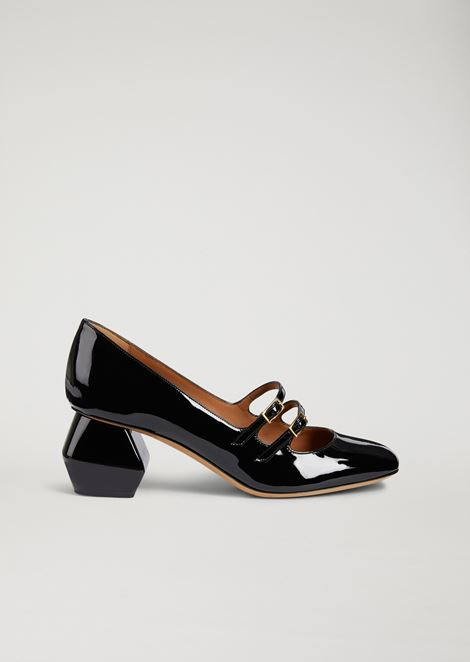 Mary Jane in nappa leather with patent hexagonal heel