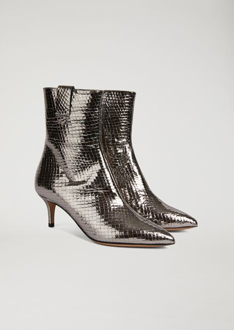 Ankle boots in python print laminated leather