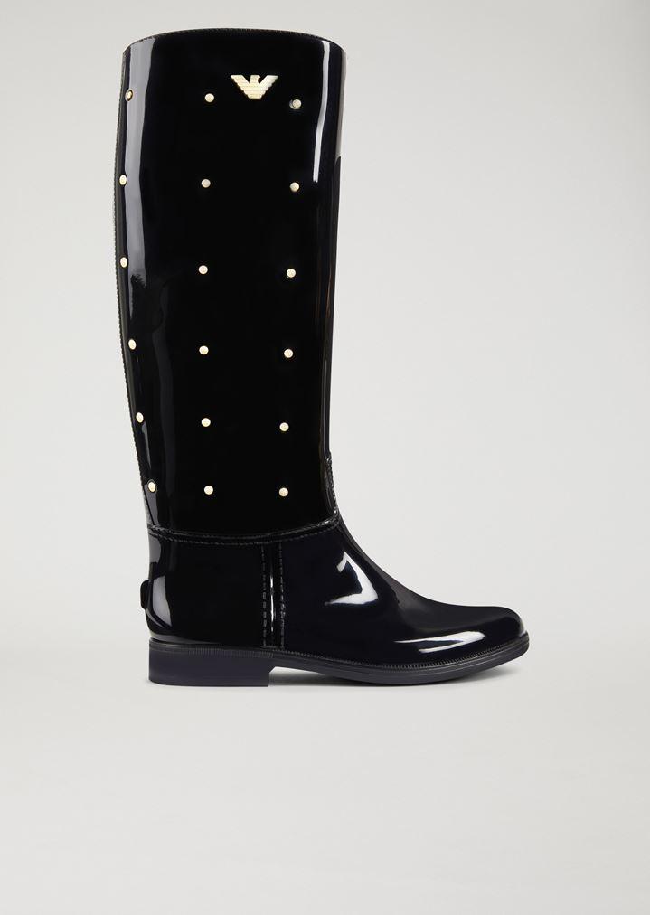 Stivali in gomma con borchiette decorative e logo  723270d3cf5