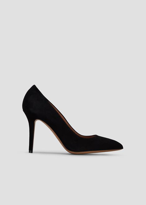 Suede court shoes with stiletto heel