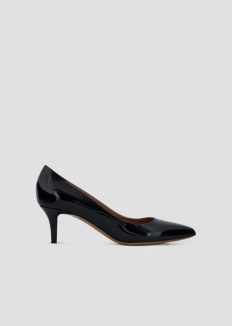Kitten heel pumps in patent leather