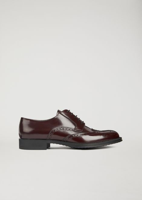 Derby brogue in brushed leather with punched pattens