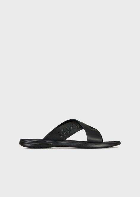 5b509c01c Leather slides with criss-crossed straps and Emporio Armani logo