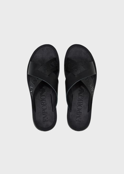 Leather flip-flops with criss-crossed straps with Emporio Armani logo