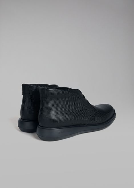 Printed calfskin leather desert boot