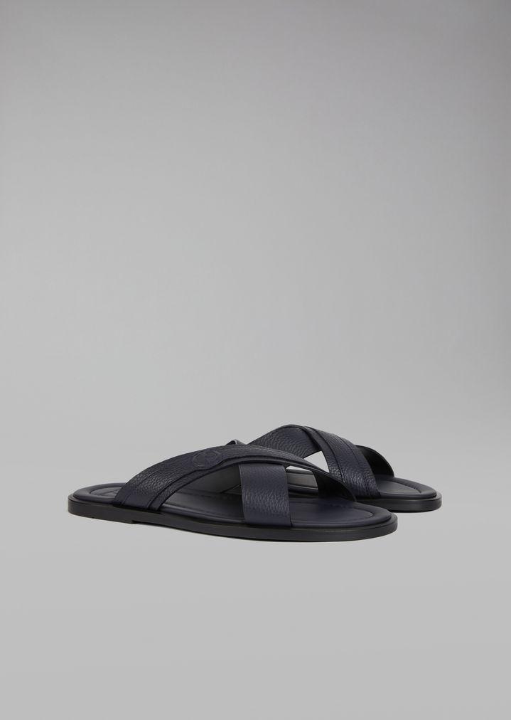 161b0f5e4 ... Sandals with crossover straps in leather. GIORGIO ARMANI