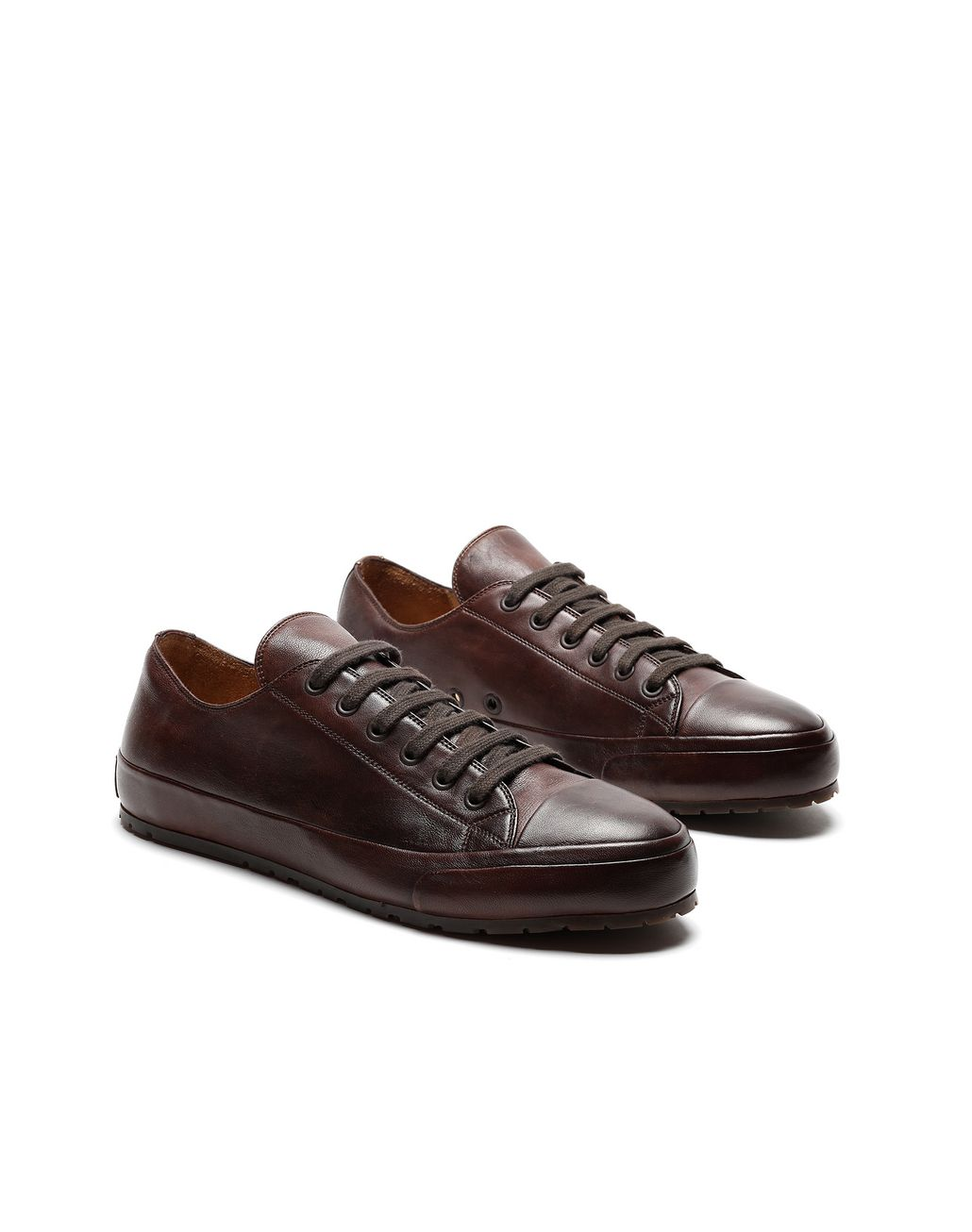 BRIONI Dark Brown Nappa Sneakers Sneakers Man d