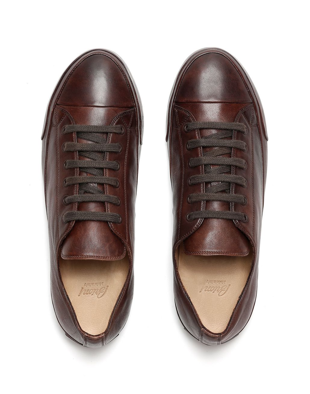 BRIONI Dark Brown Nappa Sneakers Sneakers Man r