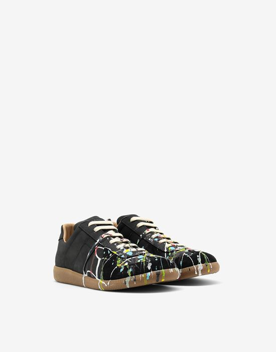 MAISON MARGIELA Suede paint drop 'Replica' sneakers Sneakers [*** pickupInStoreShippingNotGuaranteed_info ***] r