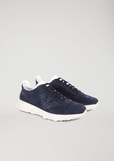 Sneakers in suede con suola in gomma lavorata