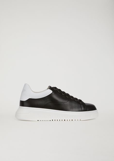 Two-tone leather trainers