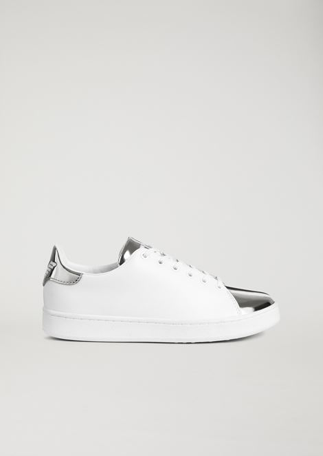 Genuine leather sneakers with mirrored laminated insert