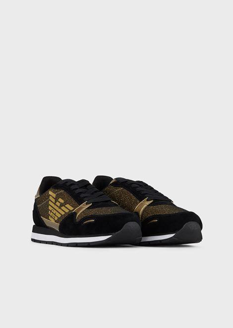 Sneakers in mesh glitterato con inserti in suede e vinile