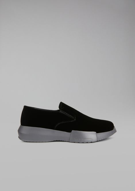 Velvet loafers with elasticated inserts and oversize sole