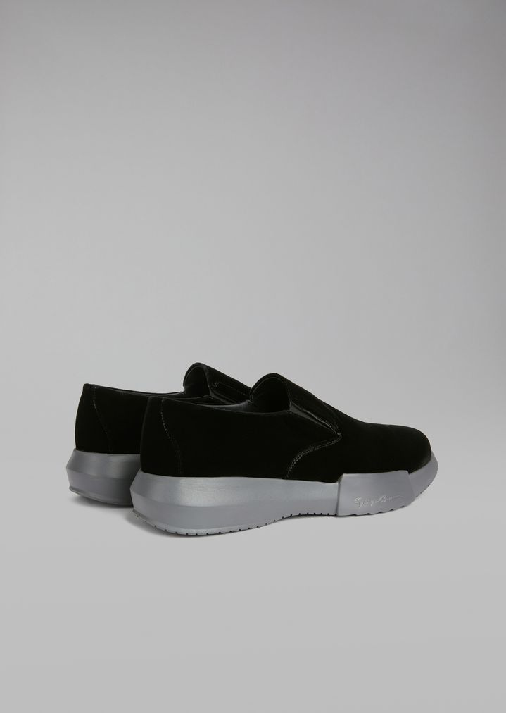GIORGIO ARMANI Velvet loafers with elasticated inserts and oversize sole Sneakers Man d