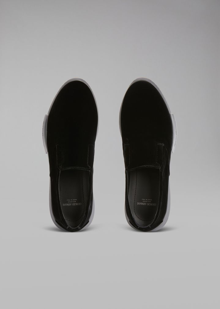 GIORGIO ARMANI Velvet loafers with elasticated inserts and oversize sole Sneakers Man e