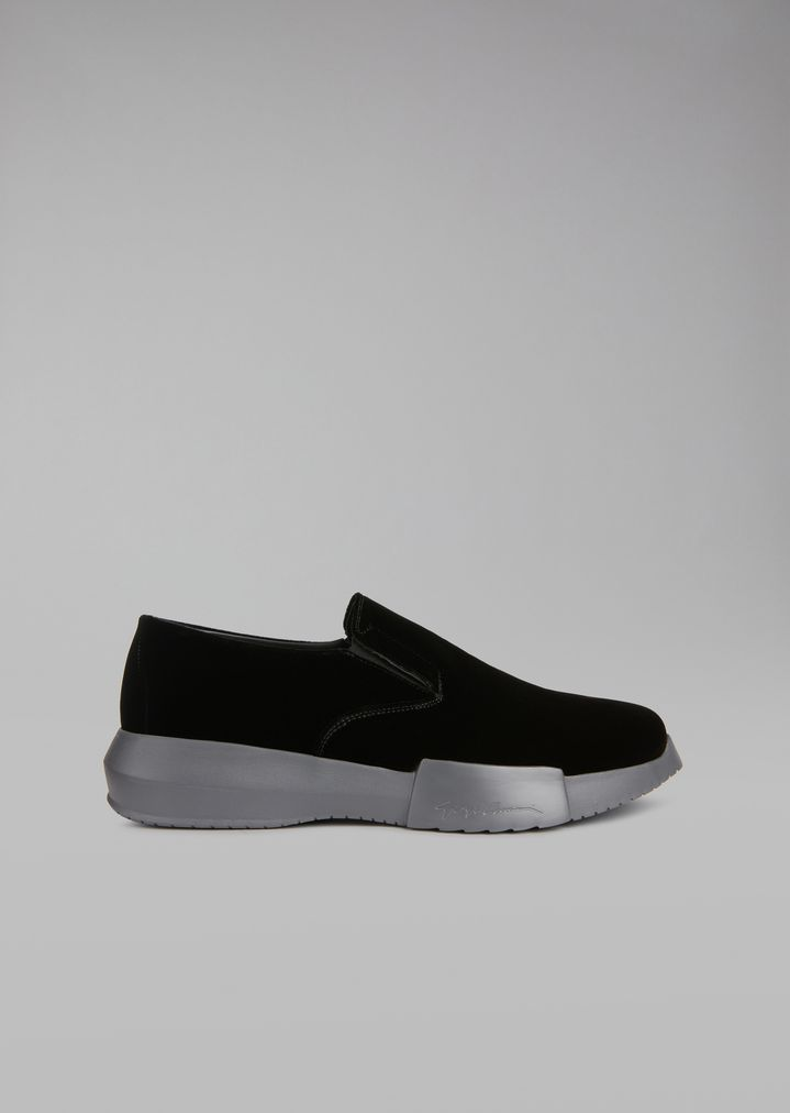 GIORGIO ARMANI Velvet loafers with elasticated inserts and oversize sole Sneakers Man f