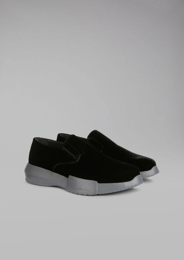 GIORGIO ARMANI Velvet loafers with elasticated inserts and oversize sole Sneakers Man r