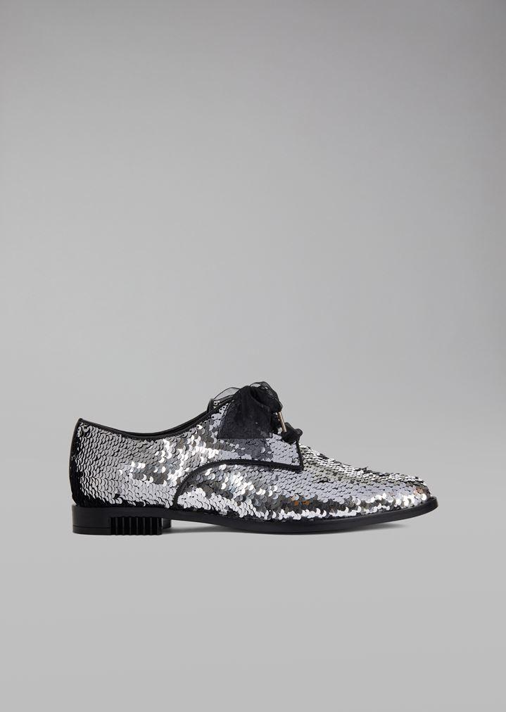 958797902a4 Zapatos de piel recubiertos de lentejuelas con lazo de organdí | Mujer | Giorgio  Armani