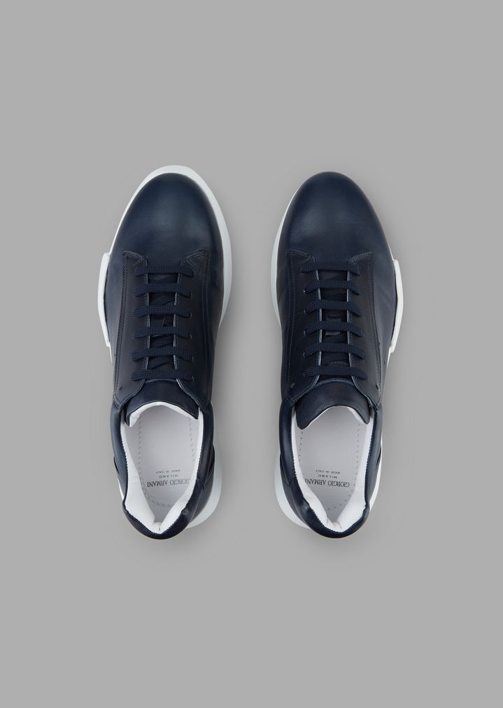 GIORGIO ARMANI Nappa leather sneakers Sneakers Man e