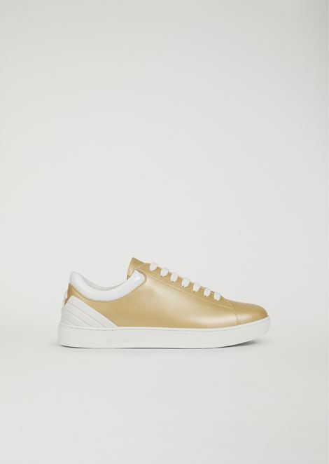 LEATHER SNEAKERS WITH EAGLE TO THE HEEL