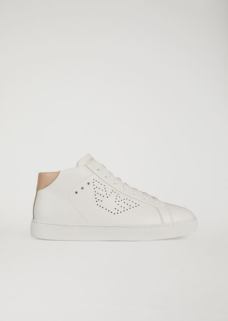 High-top sneakers with perforated logo