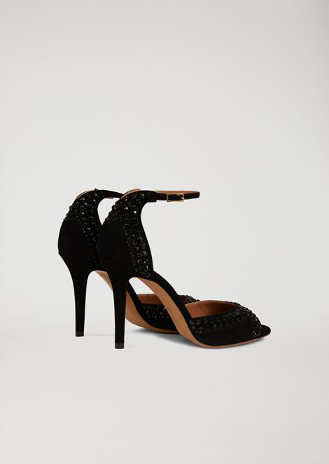 High-heeled sandals with rhinestone
